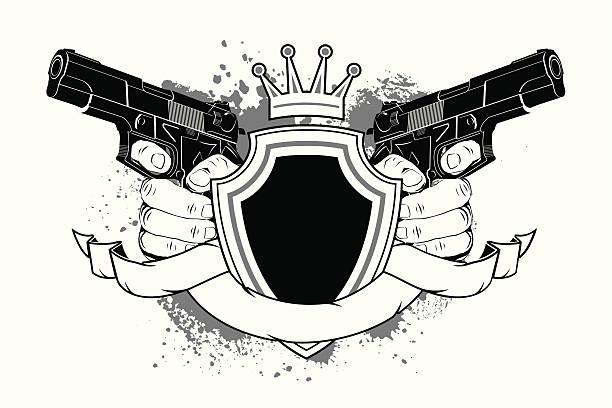 shield and guns - gangster stock illustrations, clip art, cartoons, & icons
