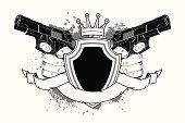 Shield and guns