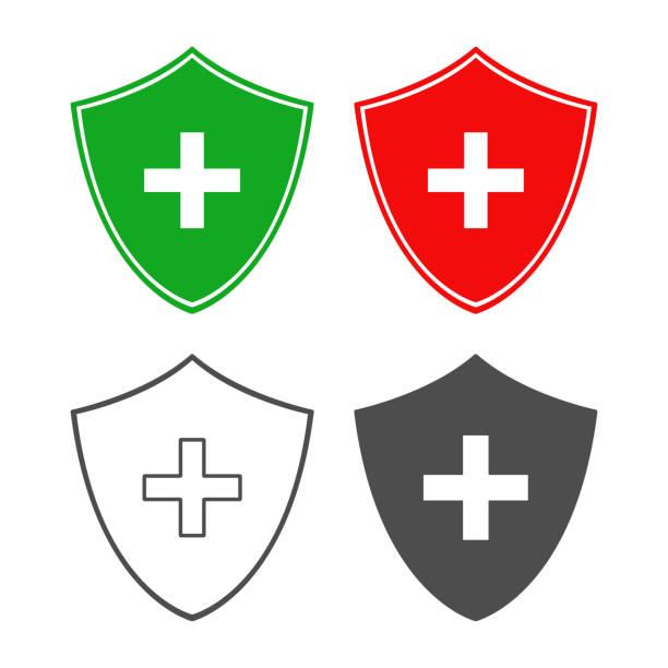 Shield and medical cross. Antibacterial symbol. Vector icon Shield and medical cross. Antibacterial symbol. Vector icon. immune system stock illustrations