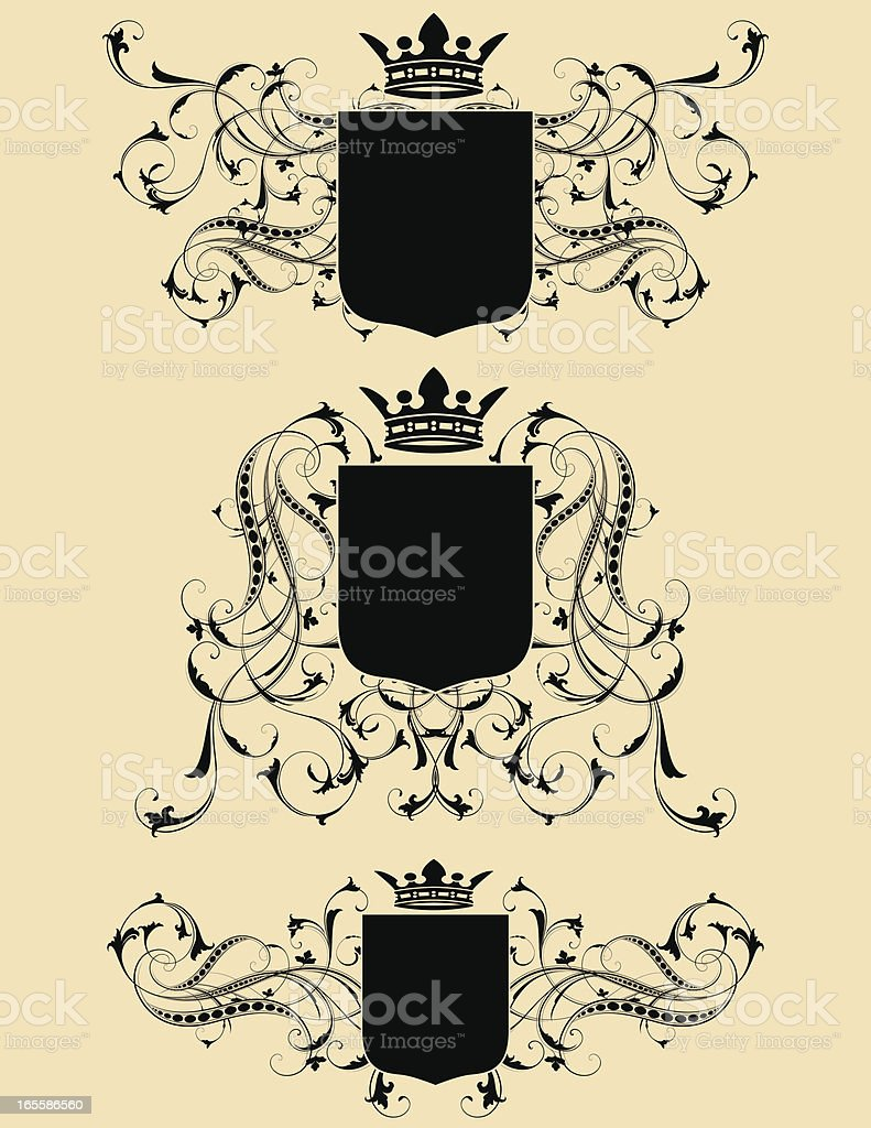 Shield and Scroll Set royalty-free stock vector art