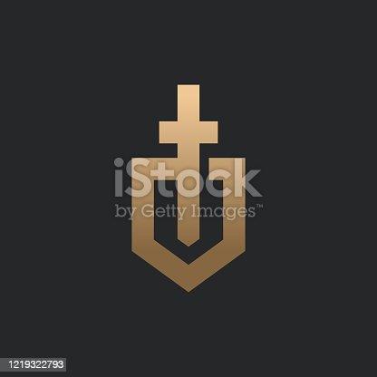 istock Shield and sword icon design template. 1219322793