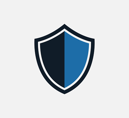 Shield and sword icon vector logo design template