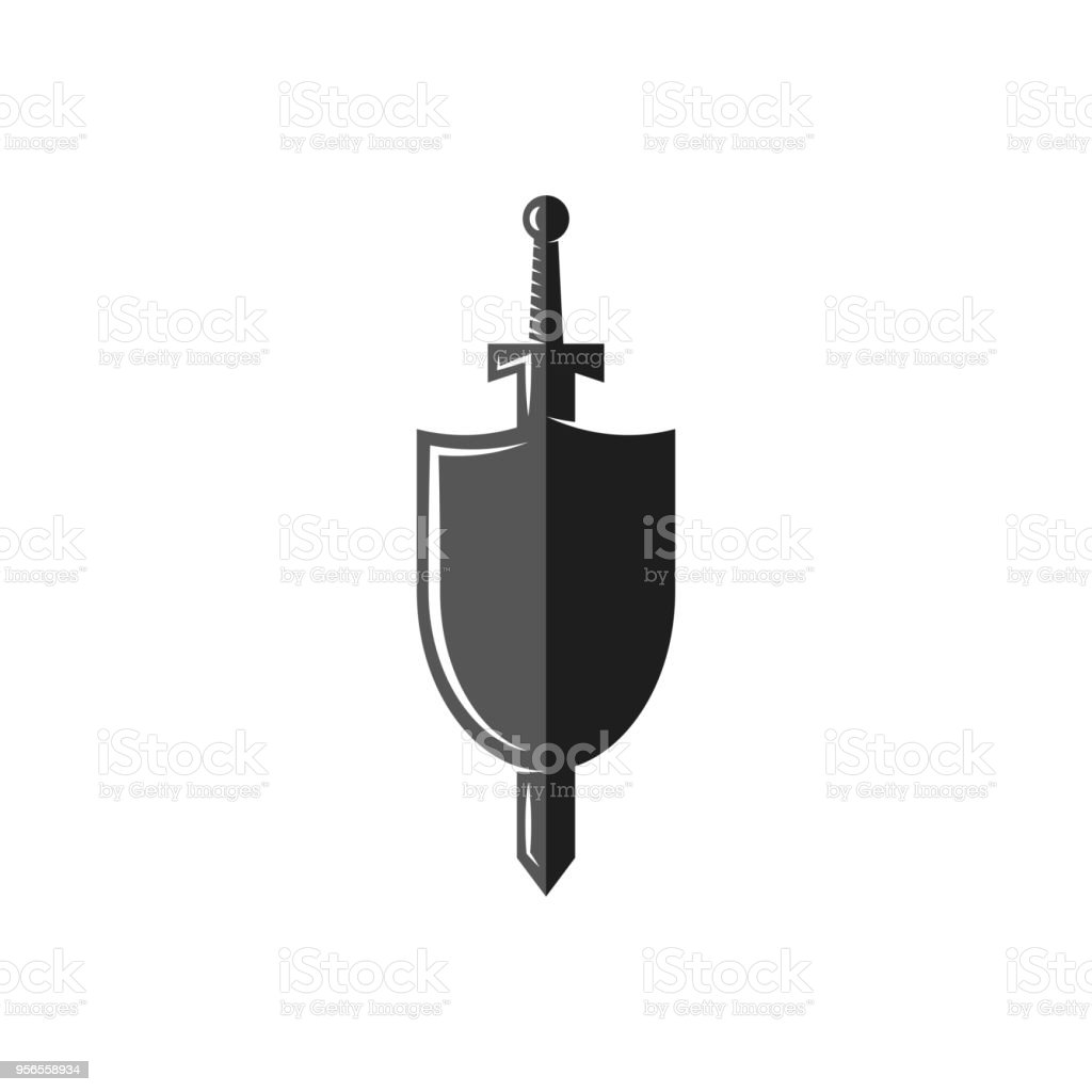 Shield and sword symbol, weapon of the medieval knight, Historical Medieval Battles tournament emblem vector art illustration