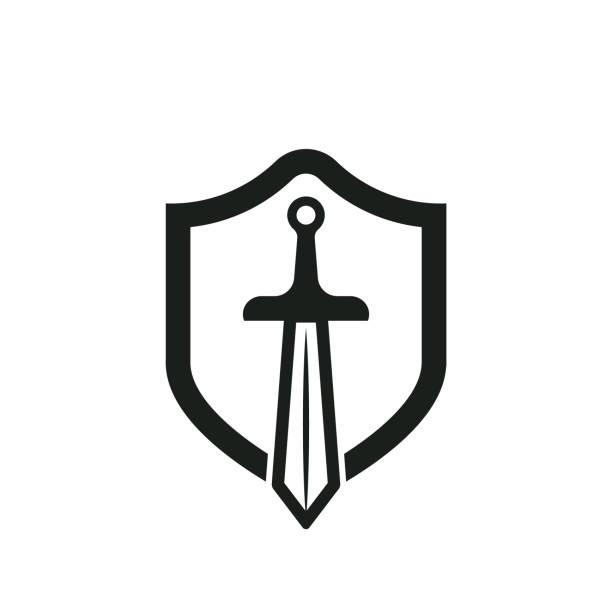 방패와 칼 - sword stock illustrations