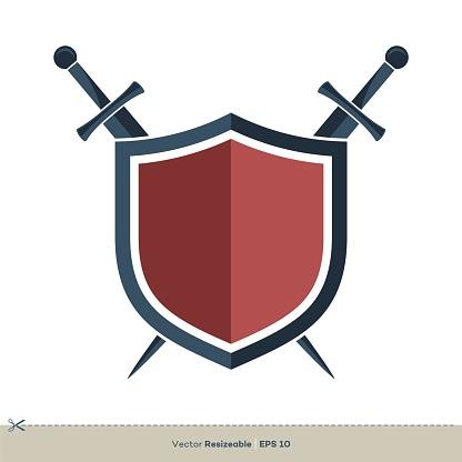 Shield and Sword Vector Logo Template Illustration Design. Vector EPS 10.