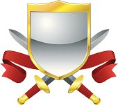 Vector illustration of a gold and silver shield with two entire swords crossing. Red velvet banners curl at the sides.