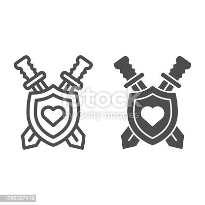 istock Shield and swords with heart line and solid icon, self defense concept, Coat of arms sign on white background, medieval emblem icon in outline style for mobile concept and web design. Vector graphics. 1286067419
