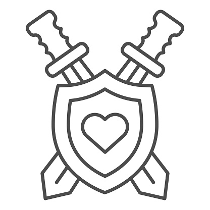 Shield and swords with heart thin line icon, self defense concept, Coat of arms sign on white background, medieval emblem icon in outline style for mobile concept and web design. Vector graphics.