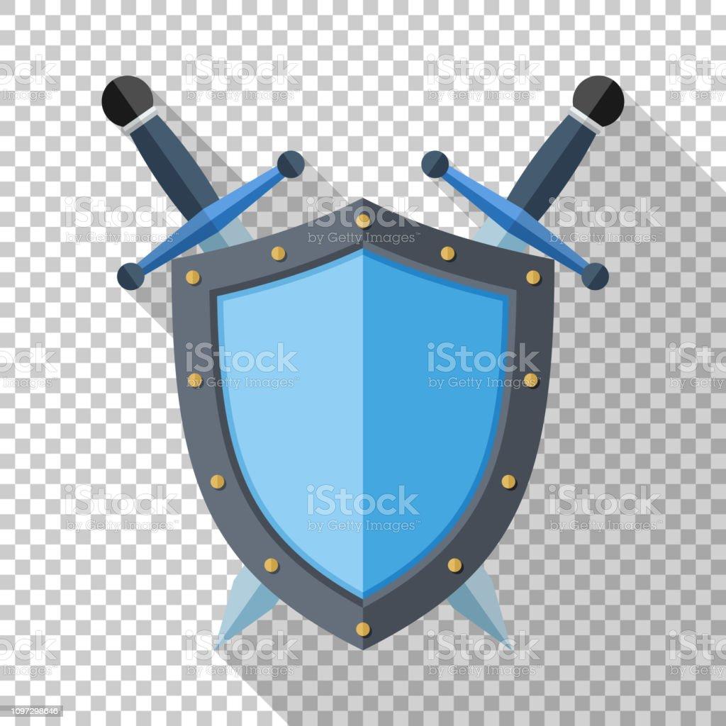 Kalkan ve şeffaf arka plan üzerinde uzun gölge ile düz stil simgesinde iki çapraz kılıç - Royalty-free Amblem Vector Art