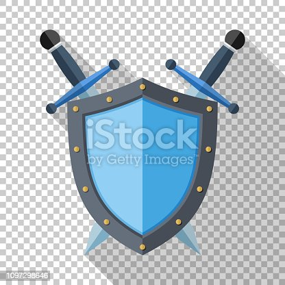 Shield and two crossed swords icon in flat style with long shadow on transparent background