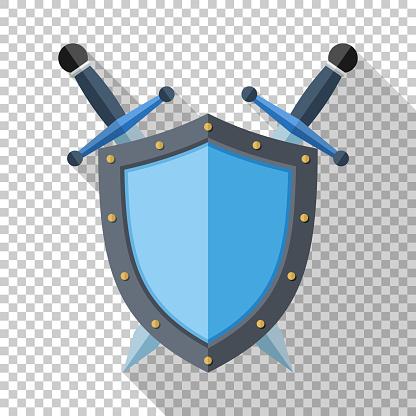 Kalkan Ve Şeffaf Arka Plan Üzerinde Uzun Gölge Ile Düz Stil Simgesinde Iki Çapraz Kılıç Stok Vektör Sanatı & Amblem'nin Daha Fazla Görseli