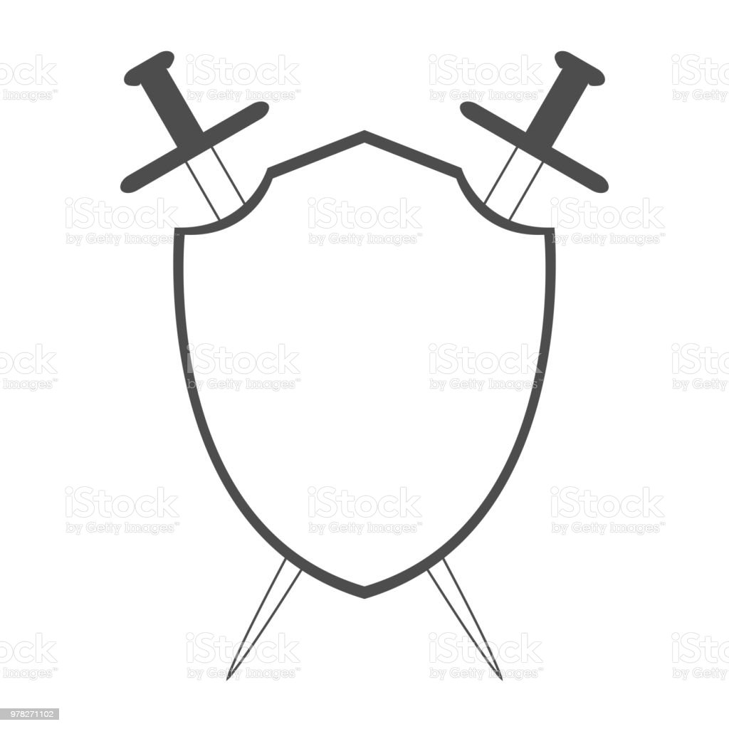 Shield And Two Crossed Swords Knight Emblem Vector
