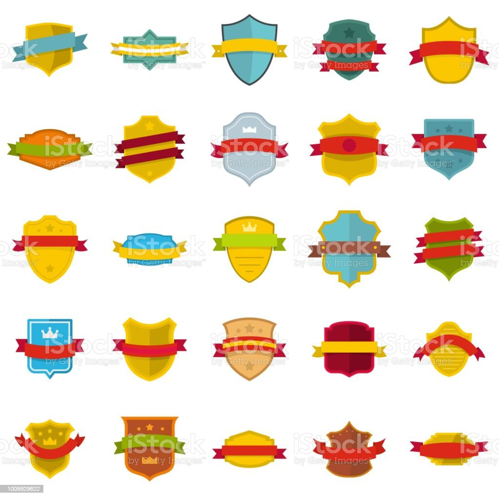 9e9bde045dbc Shield Badge Icons Set Flat Style Stock Illustration - Download ...