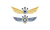 shield camera wing logo icon vector