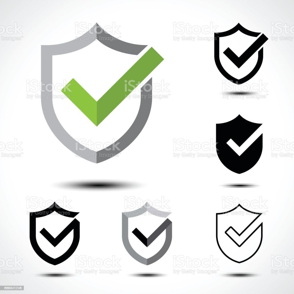 Shield check mark icon icon design template element
