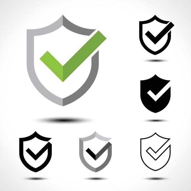 schild häkchen-symbol icon design template-element - schutzschild stock-grafiken, -clipart, -cartoons und -symbole