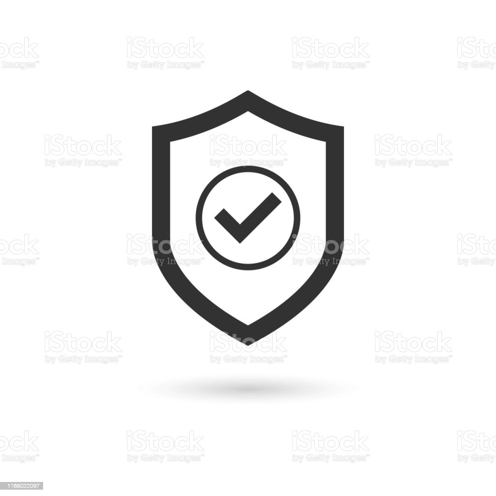 Shield Check Mark Icon Vector - Royalty-free Arte arte vetorial