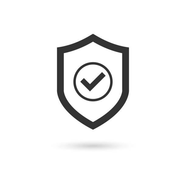 illustrazioni stock, clip art, cartoni animati e icone di tendenza di vettore icona contrassegno di controllo scudo - protezione