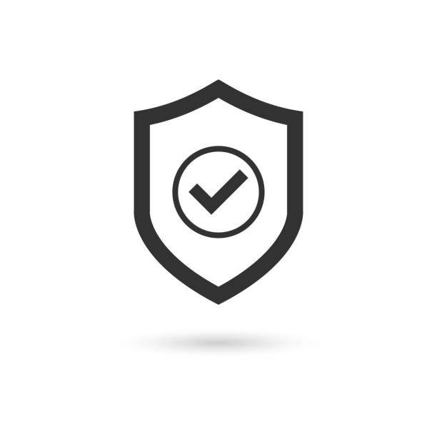 shield check mark icon vector - insurance stock illustrations