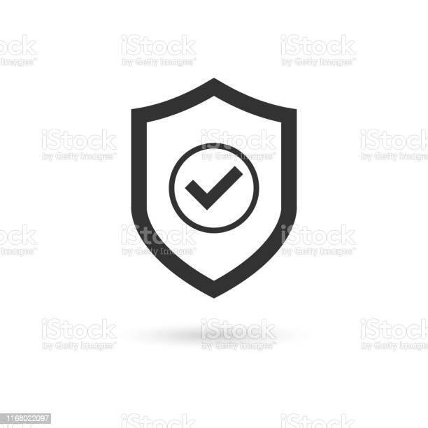 Shield Check Mark Icon Vector - Arte vetorial de stock e mais imagens de Arte