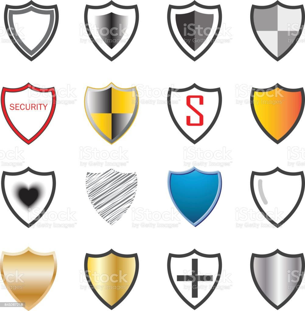 shield collection icons background vector illustration stock vector