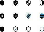 Shield duotone icons on white background. Vector illustration.