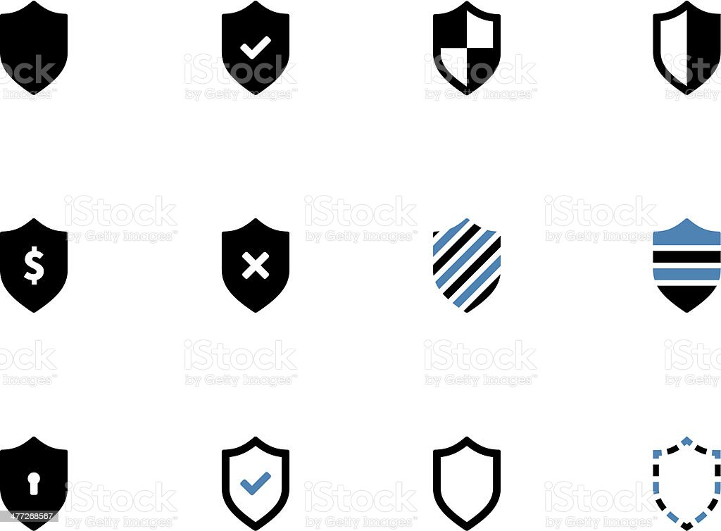Shield duotone icons on white background. vector art illustration