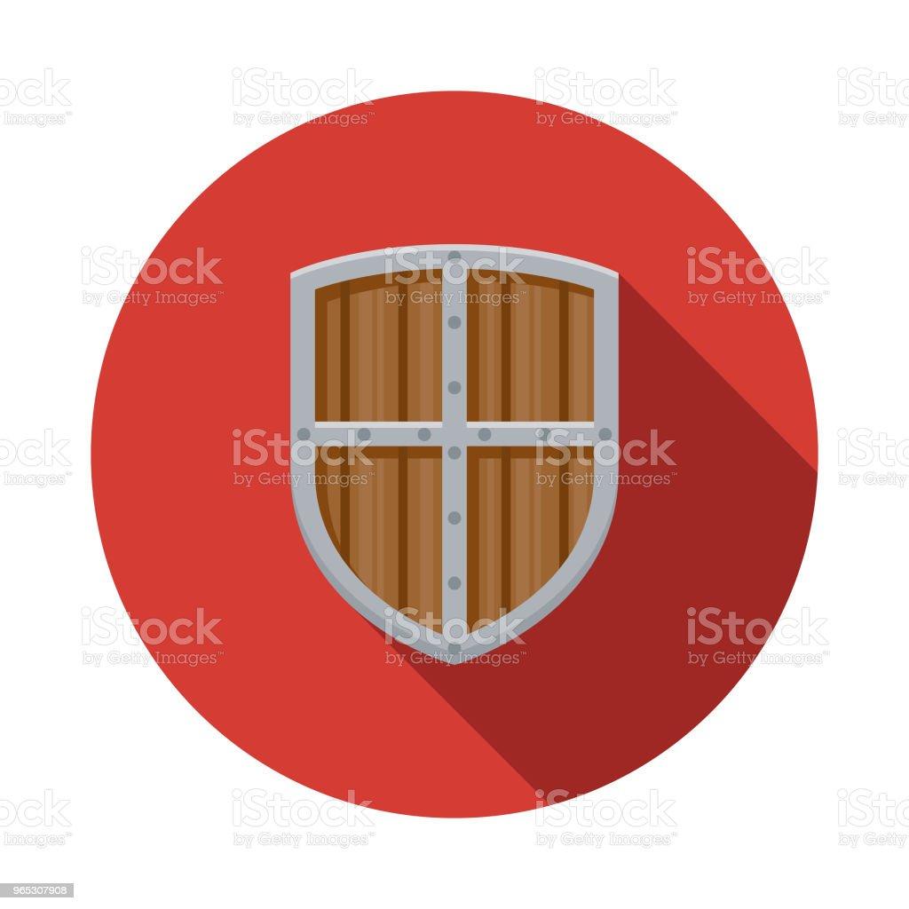 Icône de bouclier Design plat fantaisie - clipart vectoriel de Acier libre de droits