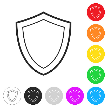 Shield. Flat icons on buttons in different colors
