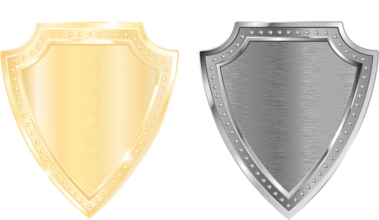 Shield. Golden and silver