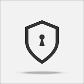 Shield guard flat design vector with shadow