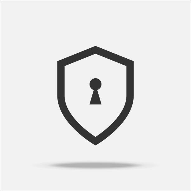 Shield guard flat design vector with shadow Shield guard flat design vector with shadow keyhole stock illustrations