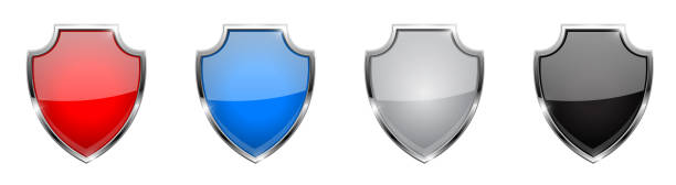 schild-symbol. glas-3d farbigen web-schilder mit chromgestell - schutzschild stock-grafiken, -clipart, -cartoons und -symbole