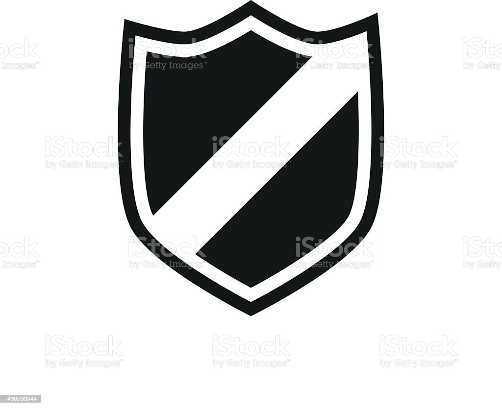 Shield icon on a white background. - SingleSeries vector art illustration