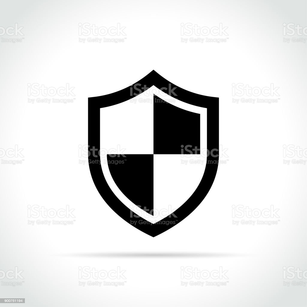 shield icon on white background vector art illustration