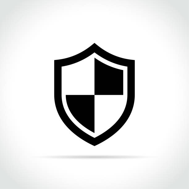 shield icon on white background - blocks stock illustrations, clip art, cartoons, & icons