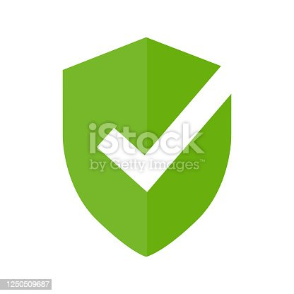 istock Shield icon. Protection symbol with tick mark approved isolated on white background. 1250509687
