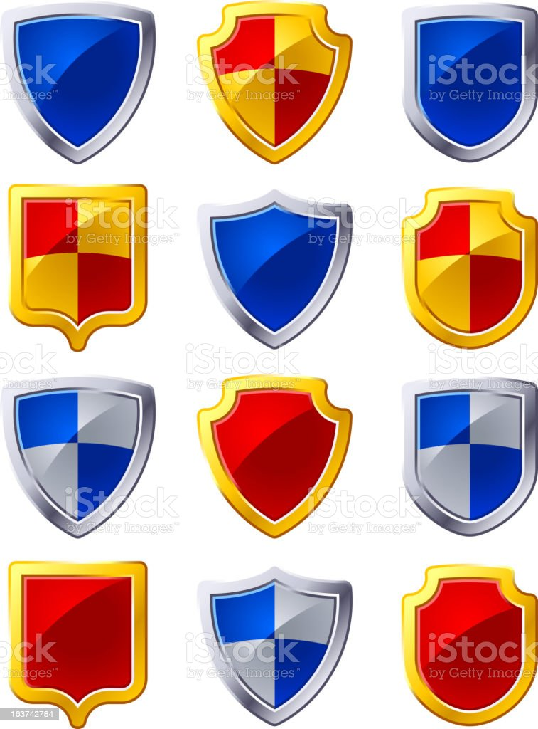 Shield icon set royalty-free stock vector art