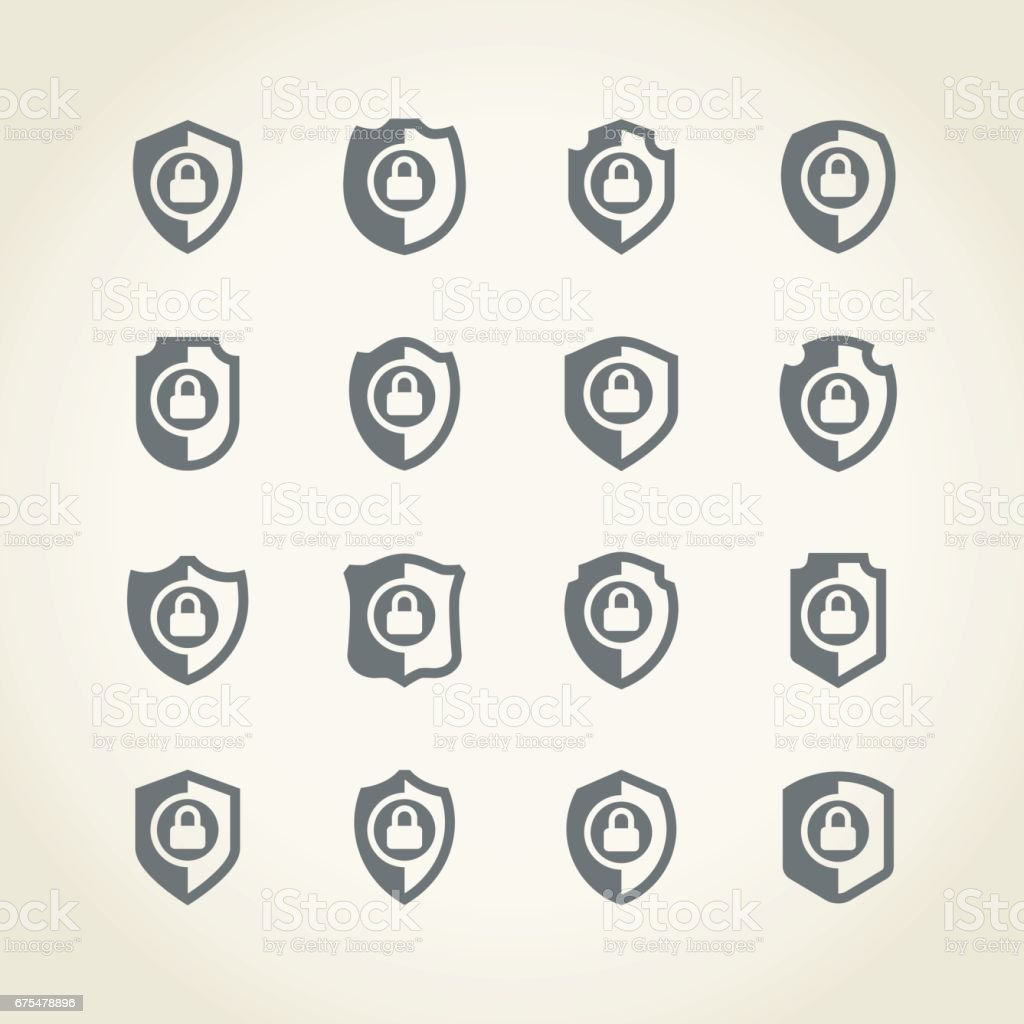 Bouclier icône bouclier icône – cliparts vectoriels et plus d'images de abstrait libre de droits