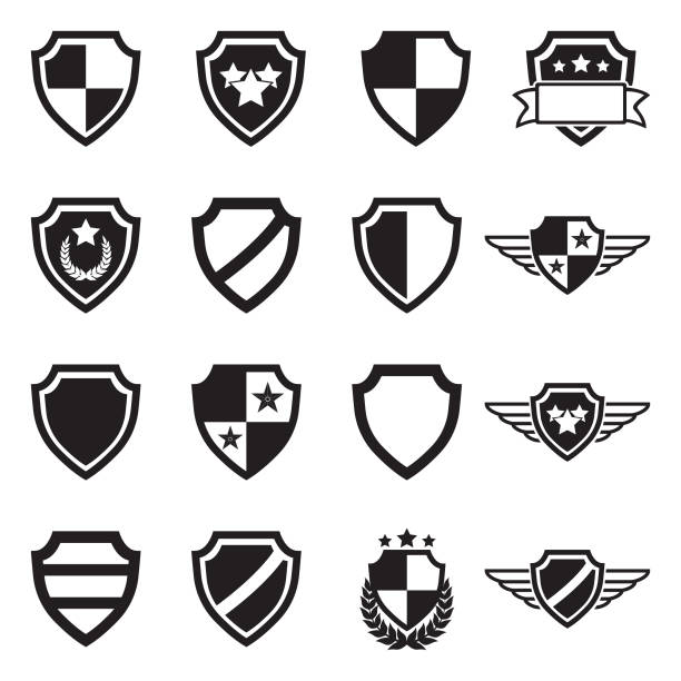 Shield Icons. Black Flat Design. Vector Illustration. Different Shield Illustrations air force stock illustrations