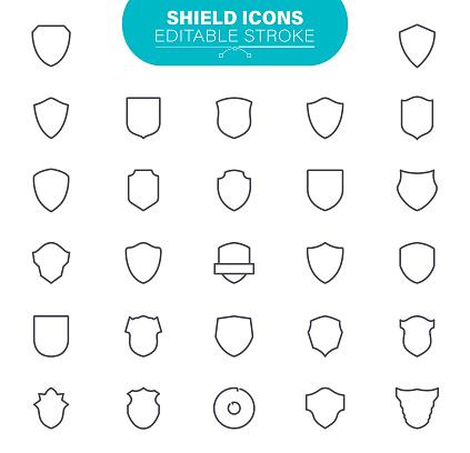 Shield Icons Editable Stroke