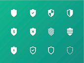 Shield icons on green background.
