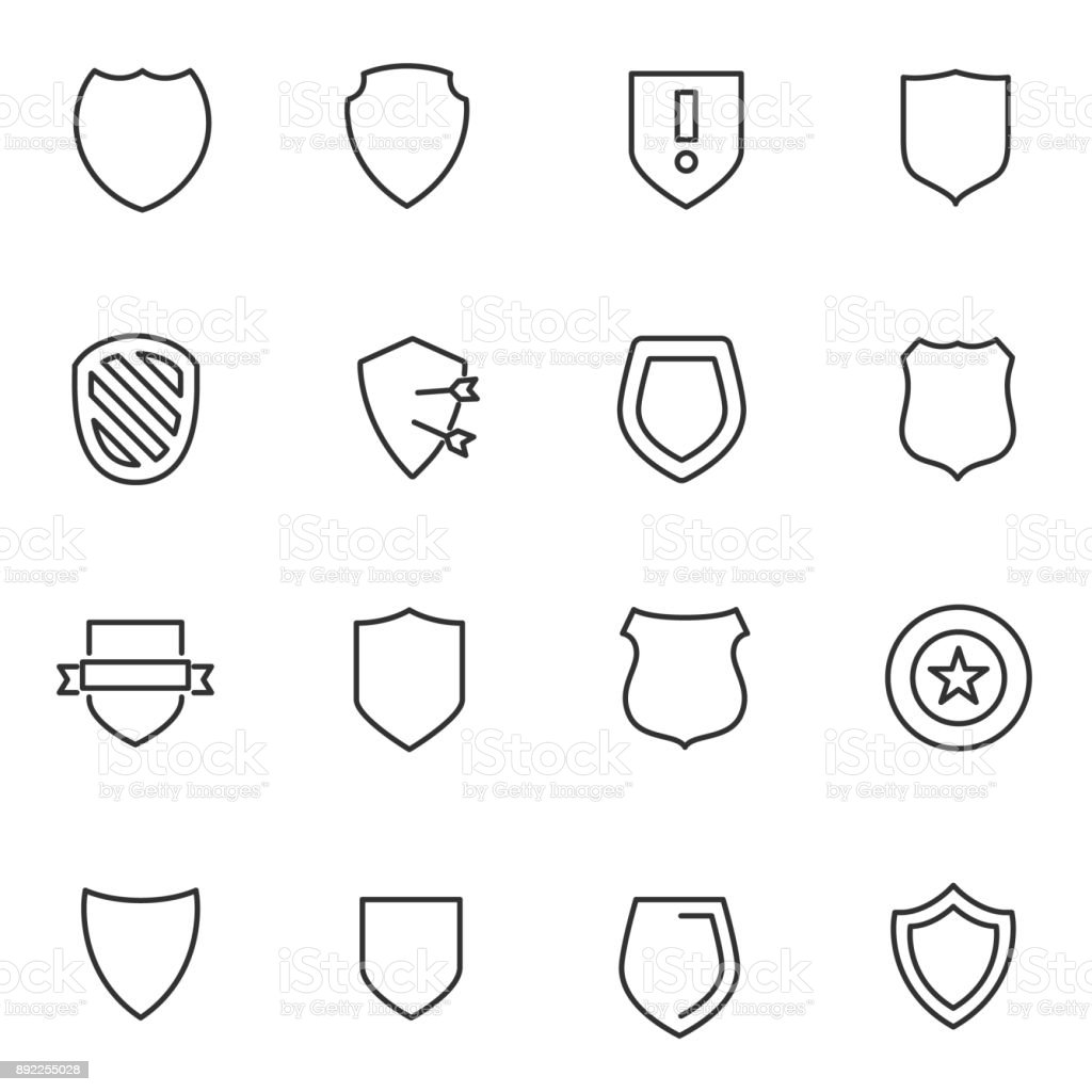 Shield icons set. Line with Editable stroke