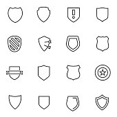 Shield icons set. Vector linear icon