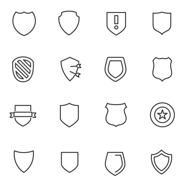 Shield icons set. Line with Editable stroke Shield icons set. Vector linear icon defend stock illustrations
