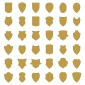 Shield icons or silhouettes isolated on white background. Vector.