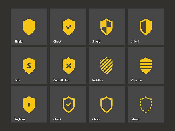Shield icons. vector art illustration