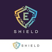 Shield initial Letter E icon design