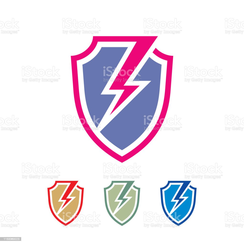 Shield Lightning Badge Design Protection Power Sign Stock Illustration Download Image Now Istock