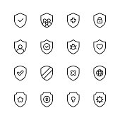 Shield Line Icons. Editable Stroke. Pixel Perfect. For Mobile and Web. Contains such icons as Badge, Award, Coat of Arms, Insignia, Privacy, Royalty, Military, Armour, Insurance, Hospital, Healthcare, Coronavirus, Vaccine, Family, Savings, Bug.
